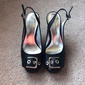 Jessica Simpson Slingback Buckle Square Toe Heels